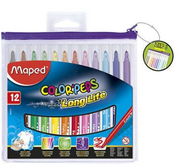 12 x MAPED COLOR'PEPS LONGLIFE FELT TIP PENS in ZIPPED CLEAR PENCIL CASE